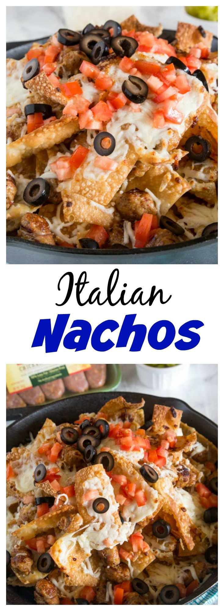 Italian Nachos with Sausage – Crispy wonton chips topped with plenty of cheese and Italian chicken sausage. Great appetizer for game day or any party!