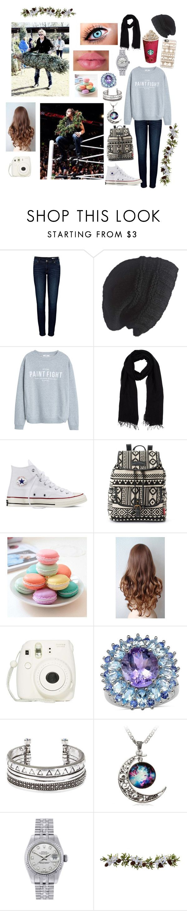 """""""Christmas with Bae😍❄️"""" by kambrose85 ❤ liked on Polyvore featuring Anine Bing, Laundromat, MANGO, Blue Les Copains, Converse, UNIONBAY, Fujifilm, Palm Beach Jewelry, Rolex and Nearly Natural"""