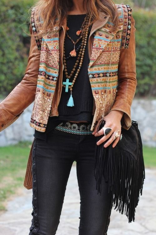 Boho style, tan embroidered leather, www.kensalstudio.com - a little much for me, but the jacket is cool