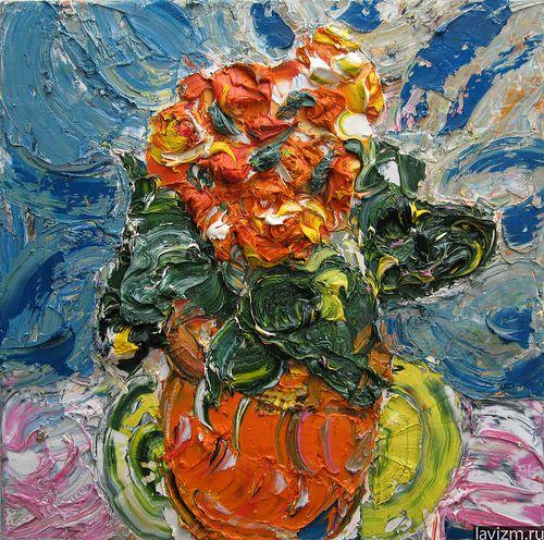 Картина «Красная Азалия» 2006 г.  Мастихин, масло, холст  (50x50)  Екатерина Лебедева художница