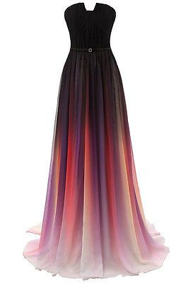 Gradient Long Chiffon Party Prom Evening Dress Women Formal Ball Gown Plus Size