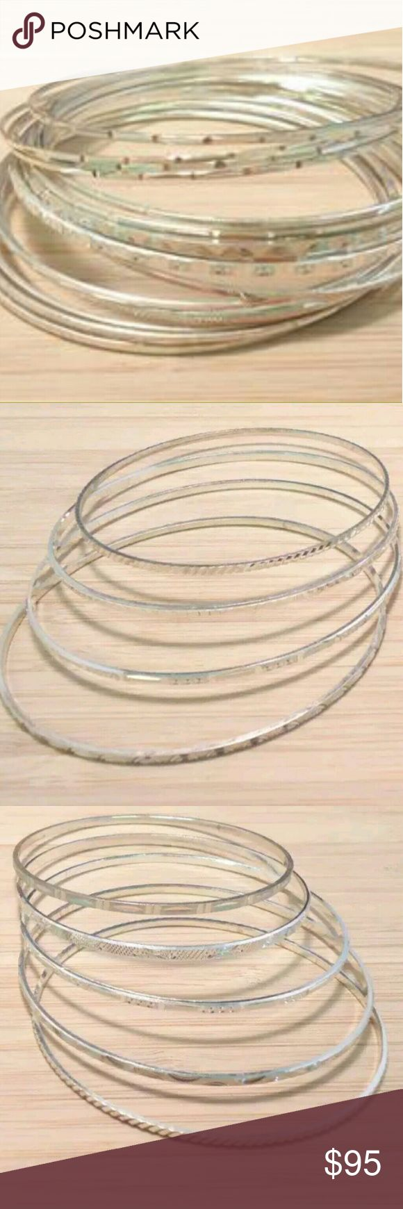 17 Sterling Silver Stackable Bangles 50.5 grams SALE!!!  17 Sterling Silver Stackable Textured Bangles 50.5 grams  I have (15) I wear daily that I love! None of these are dented or bent. In perfect condition. These are for a medium size wrist. They range from 7.25 to 7.50 These are sold as a set, I will not separate.  Just recently cleaned by jeweler.  No trades or try ons Stamped .925 inside rim of bangles  No trades please These were my mothers 50.5 grams of silver.  Alot of weight 😊…