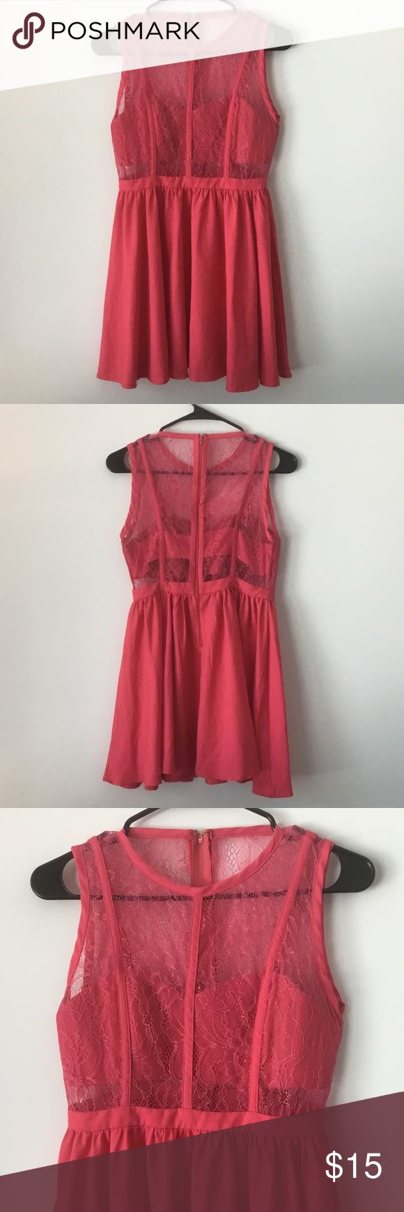 Akira Lace Bandeau Dress Excellent condition Lace dress with bandeau top. Beautiful jaw-dropping pink color. AKIRA Dresses Mini