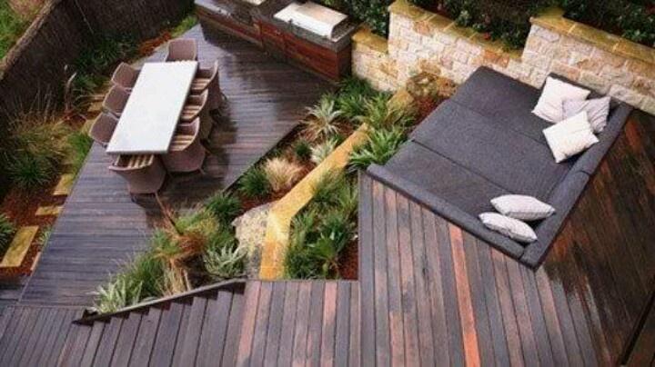 Tiered Backyard Decks :  Stuff, Tiered Decks Creek, Decks Boards, Tiered Landscape Gardens