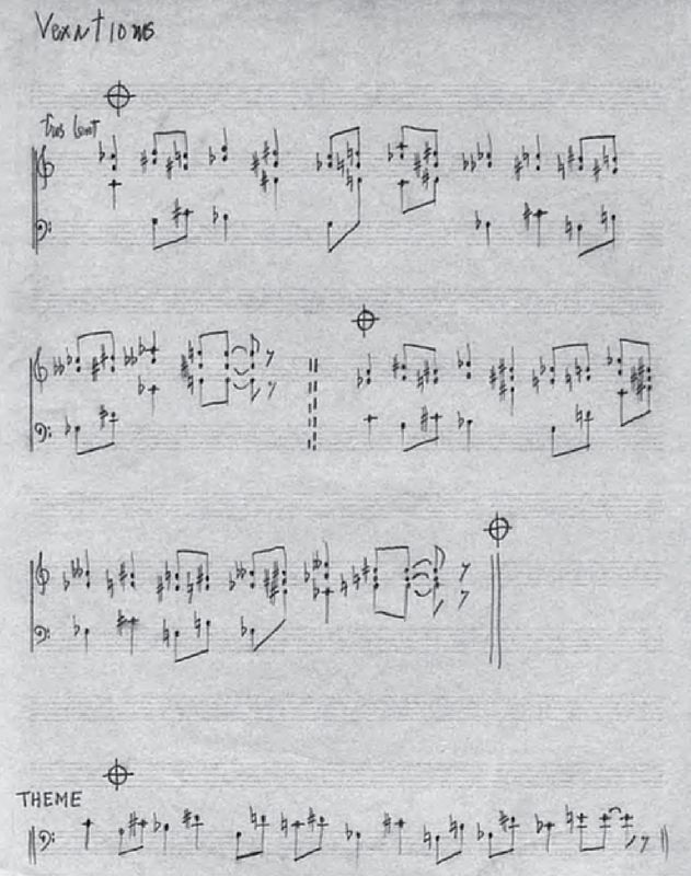 """John Cage's transcription of """"Vexations"""" by Eric Satie (from """"The Selected Letters of John Cage"""")"""