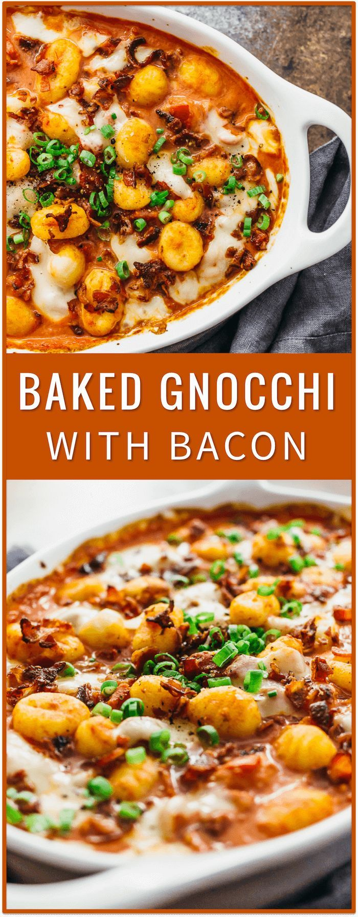 Baked gnocchi pasta recipe with bacon, sun-dried tomatoes, mozzarella cheese, oven baked gnocchi, baked gnocchi casserole, with chicken, with cheese, healthy, with kale, butter sauce, mac and cheese,  (Italian Recipes With Chicken)