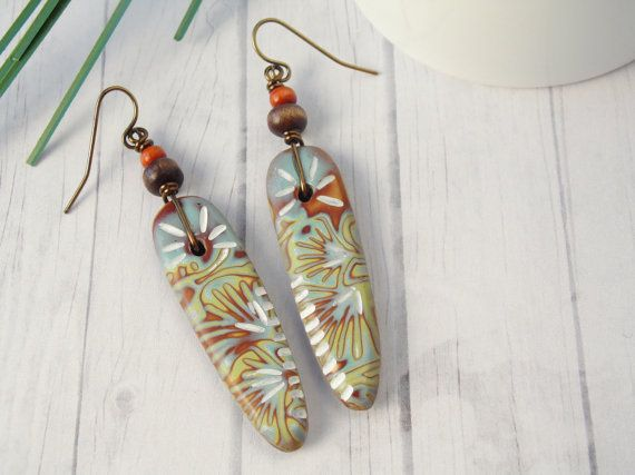 Tribal boho polymer clay earrings by www.wiredorchid.com