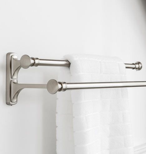 Great for high-traffic bathrooms - double towel bar