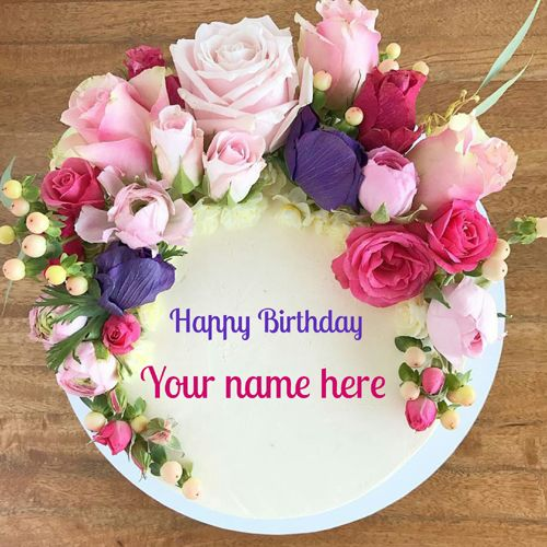Happy Birthday Floral Art Creative Round Cake With Name.Make Your Custom Name Cake.Online Name Printing on Amazing Bday Cake Pics.Beautiful Flowers Name Cake