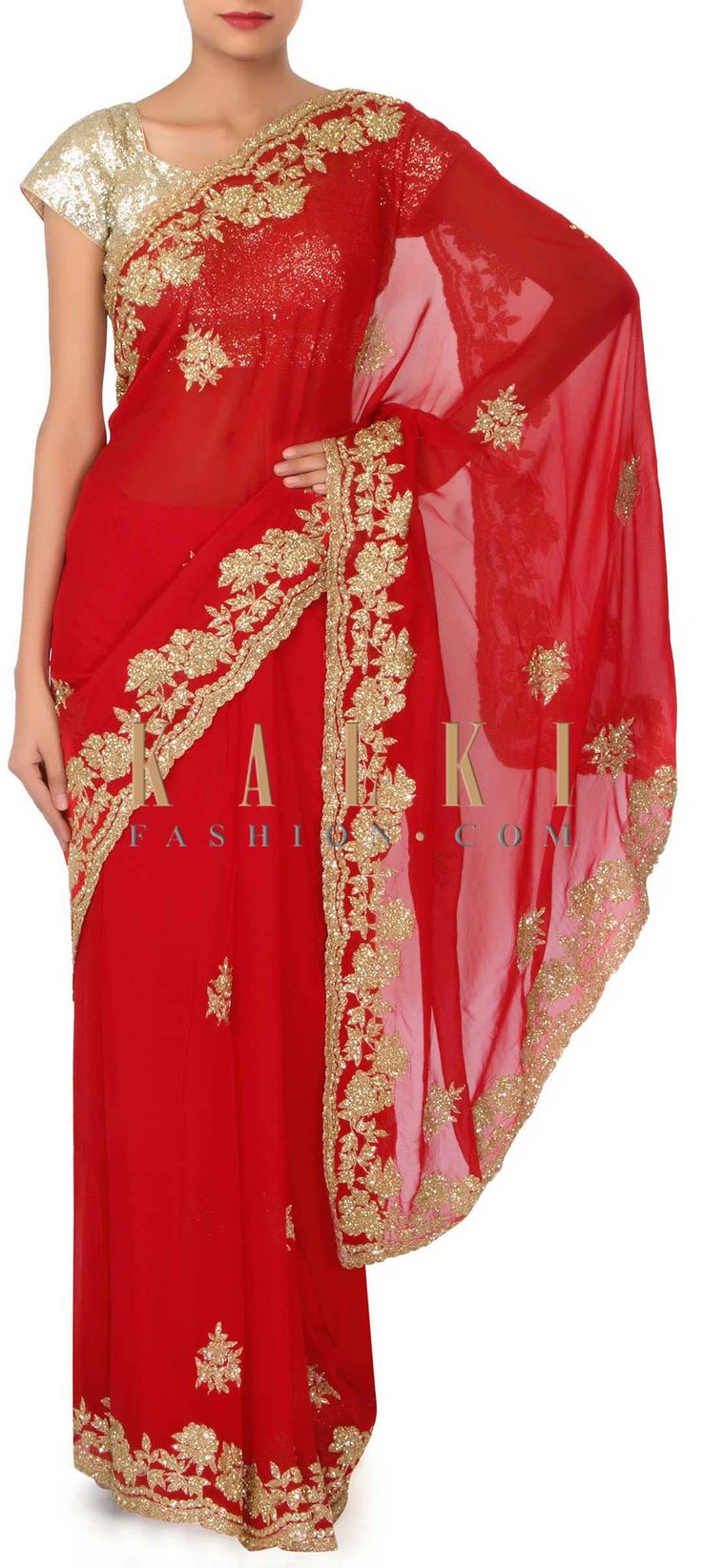 Red saree embellished in kardana embroidery only on Kalki