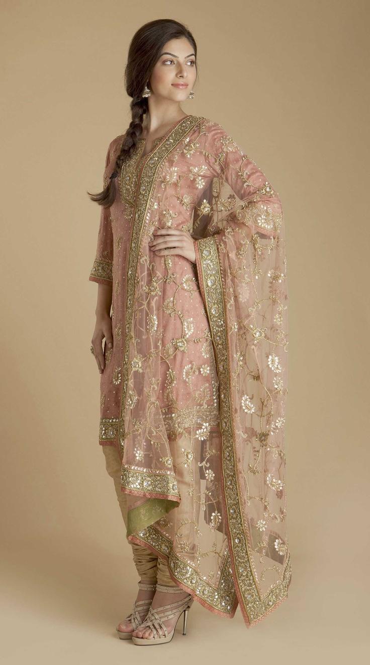 Pink Satin Embroidered Churidar