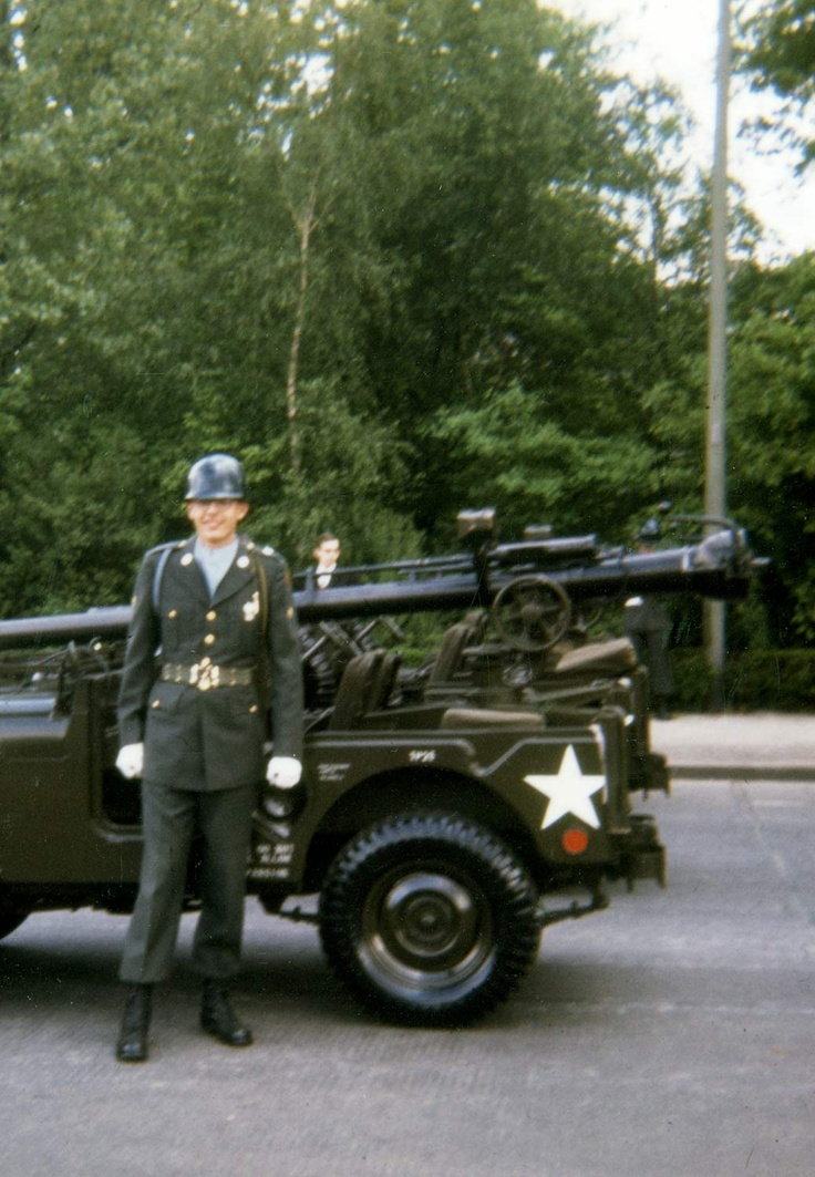 John Parmenter served at the height of the Cold War when war with the Soviet Union seemed inevitable. His unit nearly deployed during the Cuban Missile Crisis in October 1962. The following year he served three months in Germany with the Berlin Brigade. In this picture, Spec. Parmenter poses with a jeep-mounted M-40A1 106mm recoilless rifle anti-tank weapon.