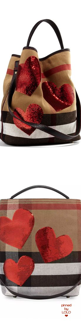 Burberry Ashby Medium Heart Check Canvas Hobo Bag, Red