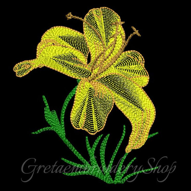 Lily embroidery design,Stitched flower,Flowers pattern,instant download,Flower machine embroidery,Lily embroidery design,Lilie by GretaembroideryShop on Etsy