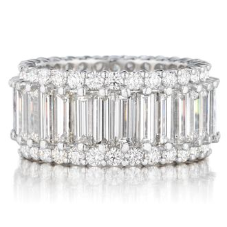 LADIES HANDMADE AND ONE OF A KIND DIAMOND BAGUETTE AND ROUND WEDDING BAND, FINGER SIZE 7 (9.3CT TW)