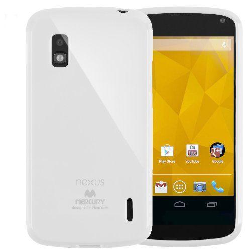 SQ1 [Mercury] Slim Fit Flexible TPU Case for LG Google Nexus 4 (White)