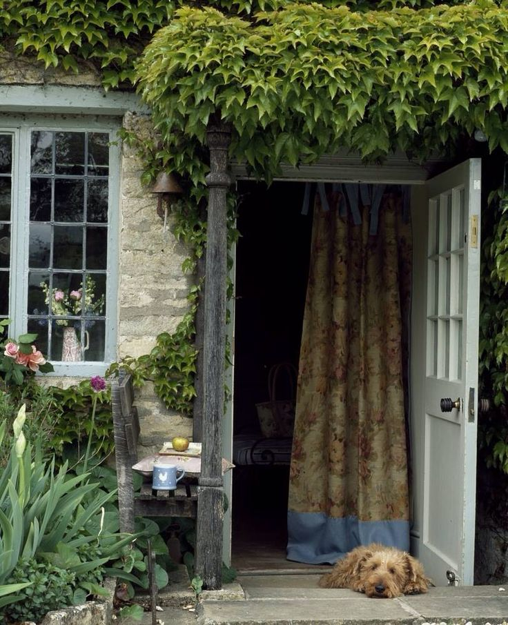 Country cottage complete with a loyal guard dog.