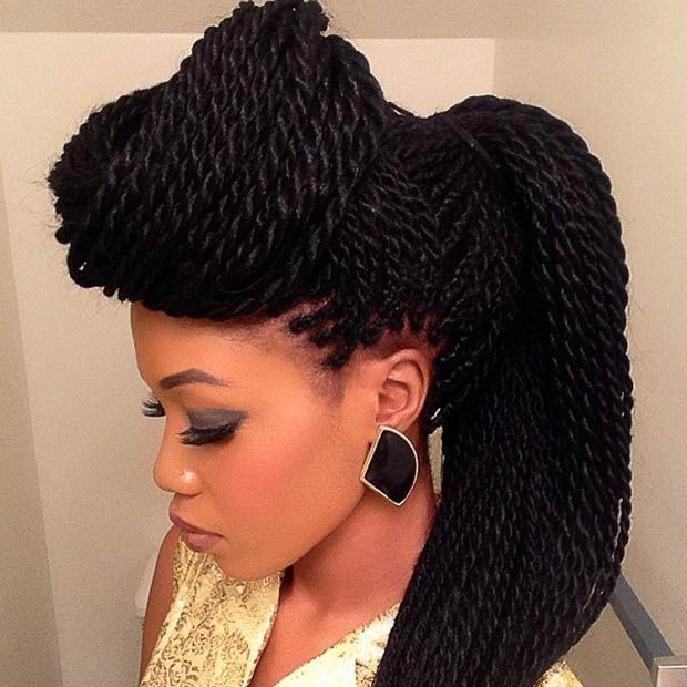 Top Knot + Ponytail Senegalese Twist Hairstyle