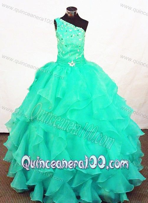 Turquoise Organza Beading Little Girl Pageant Dresses for Customize