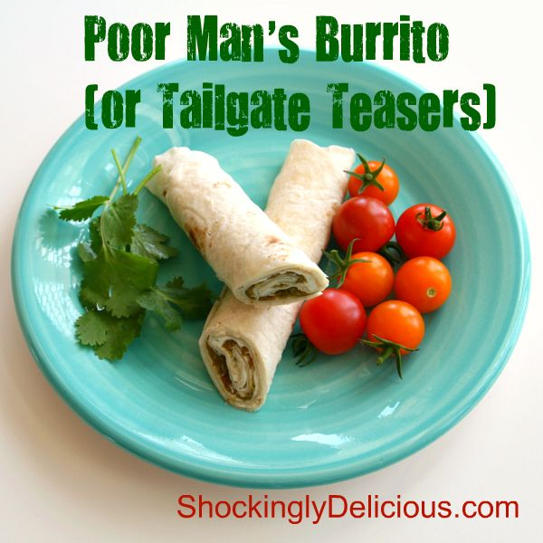 Poor Man's Burrito (aka Tailgate Teasers). Easy wrap featuring Hatch! Recipe here: http://www.shockinglydelicious.com/poor-mans-burrito-for-sundaysupper-tailgating/