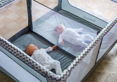 The perfect play pen for twins! This play yard comes with a detachable divider that can be used for twins or two little ones!