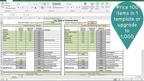 Pricing Template For Etsy Sellers Excel Spreadsheet Includes Etsy
