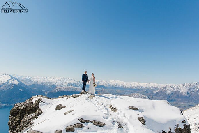 cloudless day, The ledge wedding. Photo of bride and groom. The Ledge Destination Heli weddings Queenstown.