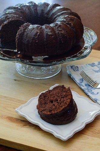 Black Russian Cake with Kahlua Glaze - SO delicious! Starts with a boxed cake mix so it's super easy too!