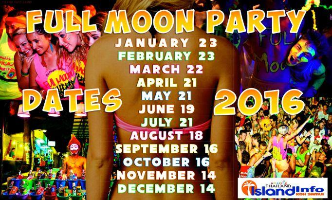 2016, FULL MOON PARTY  DATES, Calendar, Schedule, Island Info Samui, tickets, tours, transport