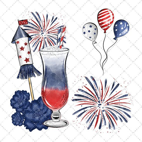 Patriotic watercolor. Independance day clipart th