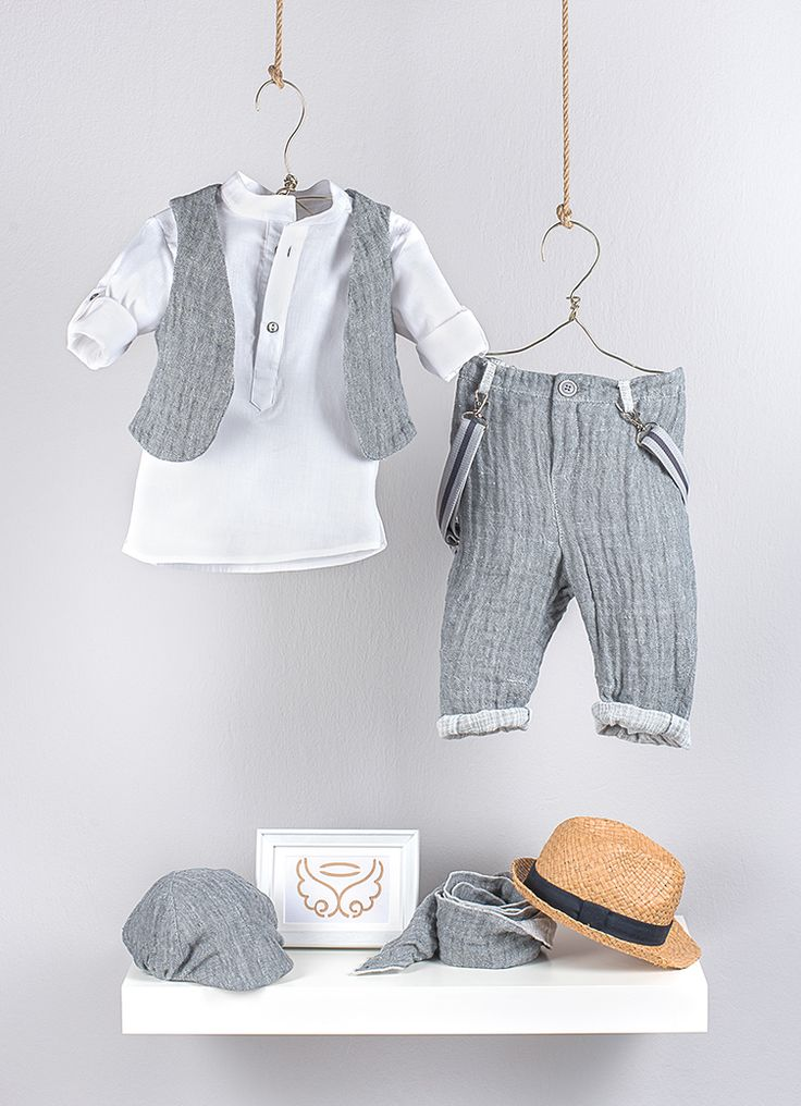 Gray vest  from double face linen  Polo  shirt in white poplin with mao collar and gray details at the front placket  Gray double face linen fabric pants in baggy line with twisted side seams. The look is completed by gray striped suspenders  Joker hat  in grey double face linen fabric  Gray scarf from double face linen  fabric  Straw hat in natural color with navy blue band