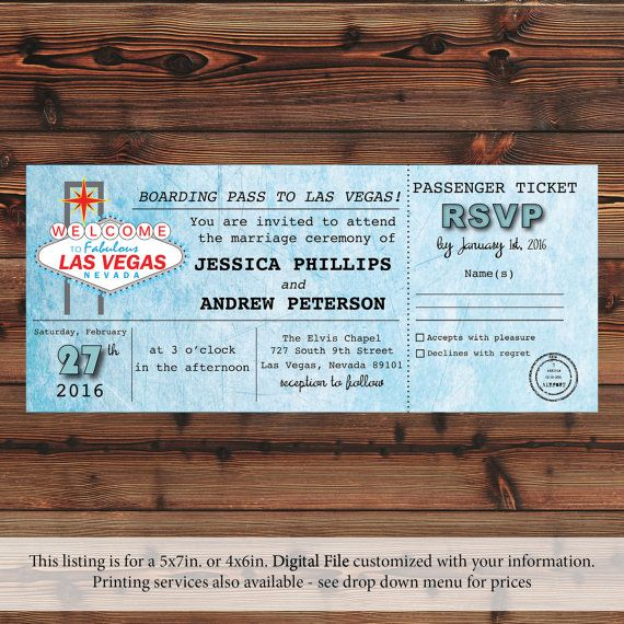 Passenger Ticket Las Vegas Wedding Invitation by RoundGroveDesigns