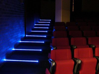 home theater step lighting. step lights created using poly optics super side light fibre lit with leds at each end in the examples shown strip consisted of a single led home theater lighting