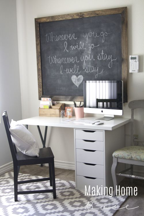Get a beautiful and bright workspace on a budget. An IKEA desk and a large scale chalkboard create a small yet functional workspace for less than $200.