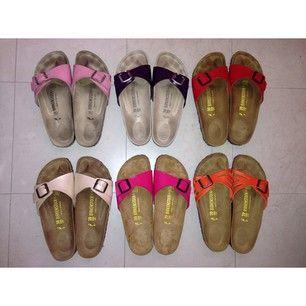 My babies!!!  #birkenstock #madrid #birkenstockmadrid #babypink #plum #red #gracefulpearl #pinklack #molina #colormix #molinacolormix #orange #purple #myaddiction #collection #normcore #trend #sandals #mandals #sotd