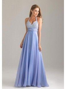 A-line Anello Perline Floor-length Chiffon Prom Dresses