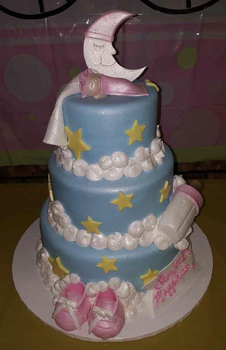 Calumet Bakery Three Tier Fondant Baby Shower Cake Stars And Moon Theme