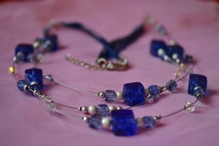 """Blue princess""- necklace with swarovski elements and cube blue moss quartz"