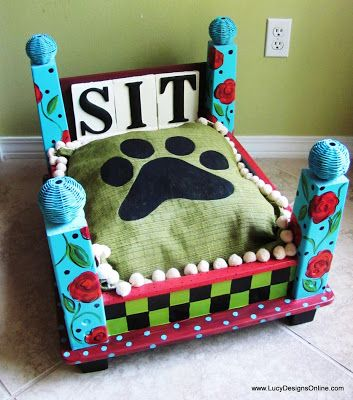 Here is a really cute idea for those of us that are pet owners. How about making a dog bed from an upturned end table? Handpainted with a funky pattern and a doggy print pillow, this sweet...