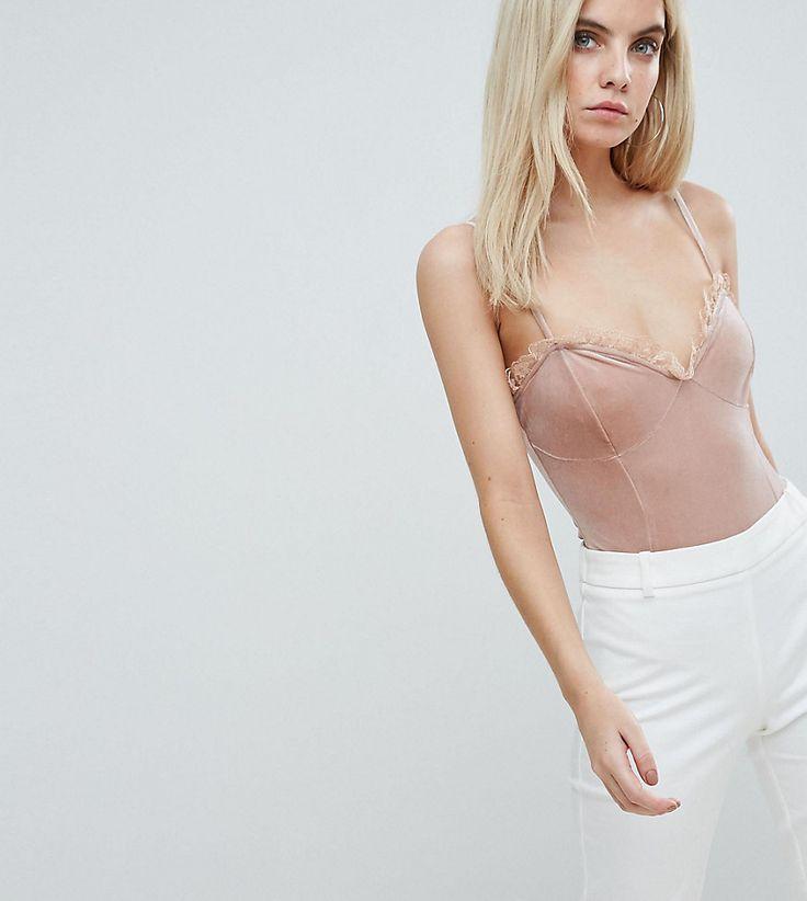 Fashion Union Petite Body In Velvet - Pink