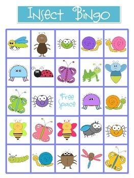 """Bug Bingo. For a Bug Drop In I did, I used bug clip art from Microsoft. I printed out hand-sized pictures of each bug, lamited it & """"hid"""" them around the room. I then made a bingo card with all the bugs on it. The game was to find each bug & get a Bingo!"""