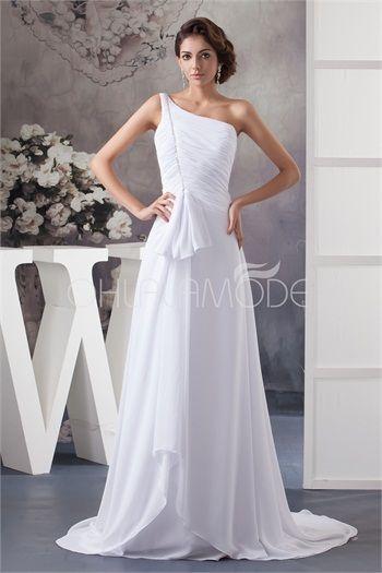 Robe de mariée pas cher magnifique une épaule à traîne balai en mousseline de soie