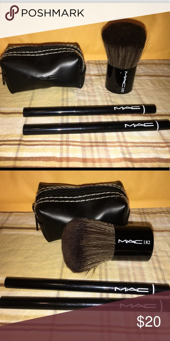 Mac makeup set ❗️Today only $18❗️ Mac makeup brush and case, and two Mac eyeliners all new Makeup Eyeliner