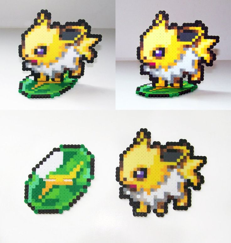Jolteon with Thunderstone - Pokemon perler beads by NerdyNoodleLabs