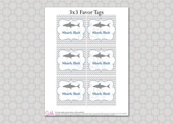Printable Shark Baby Or Bridal Shower Favor Tags Shark By
