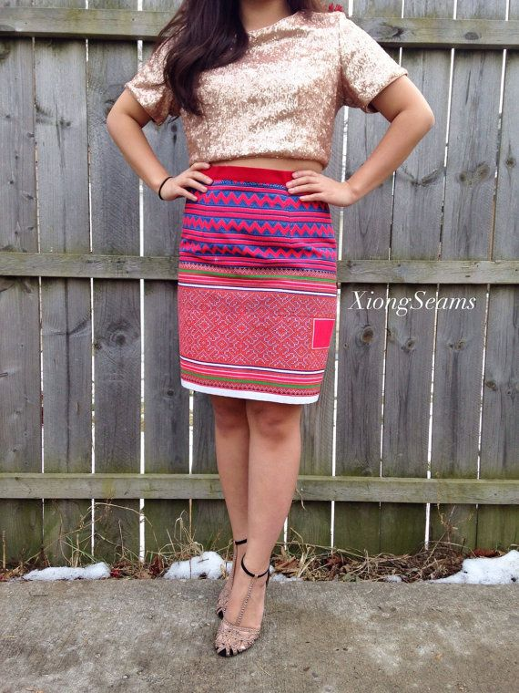Hmong Pencil Skirt in Red by XiongSeams on Etsy