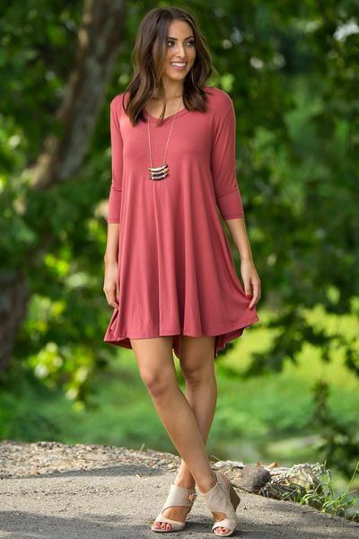 The Perfect Piko 3/4 Sleeve V-Neck Swing Dress-Marsala