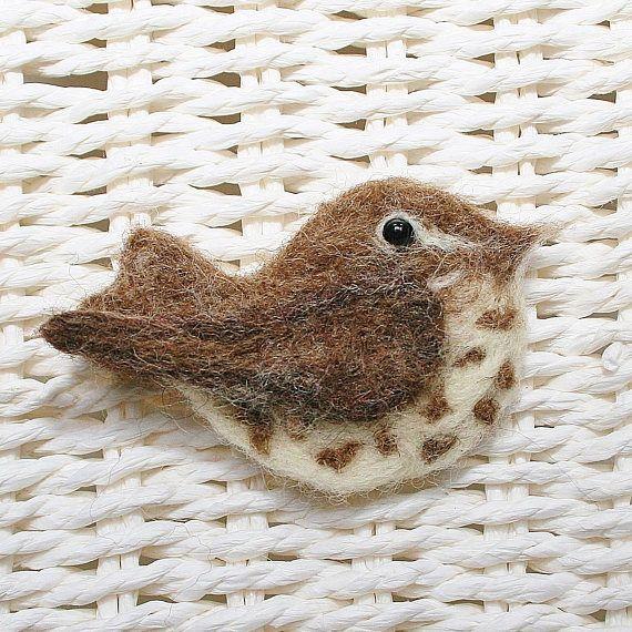 Felted bird brooch - Song Thrush Brooch - bird jewellery - bird hair accessory - gift for bird lover