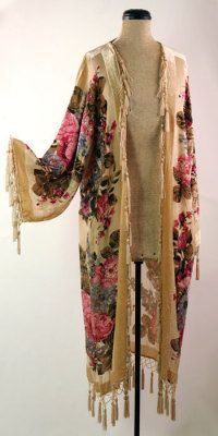 "Victorian Kimono    Geishachic...burnout silk velvet in stained glass colors drips with hand-knotted silk fringe. Exquisite attire for hostess, cocktail parties or a night at the symphony. 48""  neck to bottom fringe. One size."