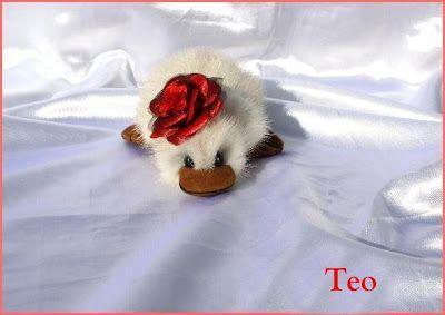 The House of Mink Teddy Bear: TEO ESPECIAL // SPECIAL PATO -- DUCK / visón blanco recicado, white mink.